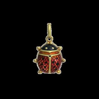 Large 14K Gold Enamel Lady Bug Charm / Pendant