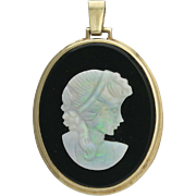Vintage 14K Gold Carved Opal and Onyx Cameo Pendant