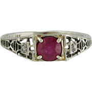 Edwardian 18K White Gold Ruby & Diamond Filigree Ring