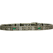Art Deco White Gold Emerald Diamond Filigree Bracelet