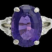 Vintage 14K White Gold Designer Amethyst & Diamond Cocktail Ring