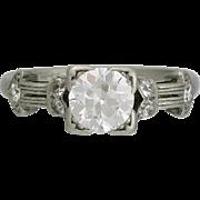 Edwardian Period Platinum and Diamond Engagement Ring