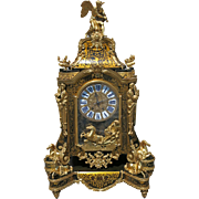 Monumental French Louis XIV Style Gilt Bronze and Bouille Clock