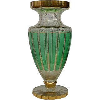 Large Green Clear & Gold Moser Glass Vase