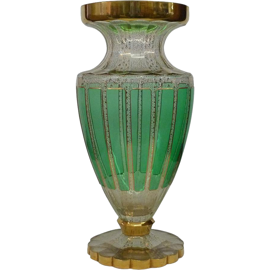 Large green clear gold moser glass vase from for Deco pour vase transparent