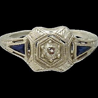 Edwardian Platinum Diamond and Sapphire Filigree Ring