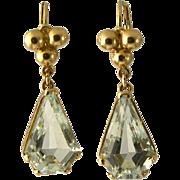 Vintage 14K Gold Aquamarine Pierced Earrings