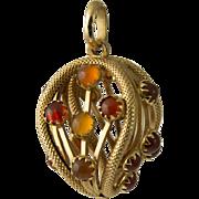 Vintage 18K Gold Carnelian Charm Fob