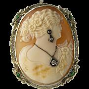 Art Deco 14K White Gold Emerald Diamond Cameo Pin / Pendant