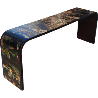Vintage 1970's Chinese Style Lacquer Console Table