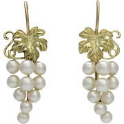 Mikimoto 14K Gold Cultured Pearl Bunched Grape Earrings
