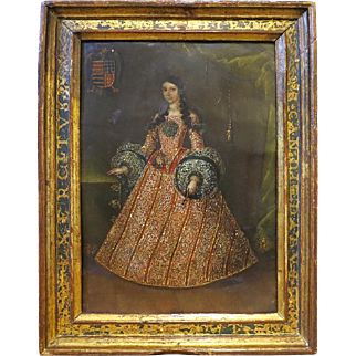 18th Century Spanish Portrait Of A Noble Woman On Copper