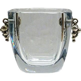 E. Dragsted Danish Stromberg Crystal Vase With Sterling Grapes