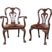 Set Of Eight English George II Style Carved Walnut Chairs