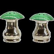 Sterling Guilloche Enamel Mushroom Form Salt & Pepper Shakers