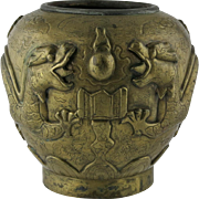 Chinese Bronze 19th Century Vase With Dragons