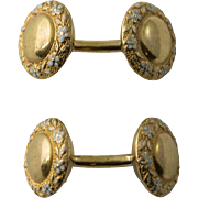 Early Krementz 14k Gold & Enamel Cufflinks, c. 1900