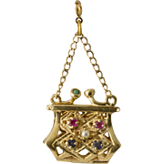 Vintage 14K Gold Jeweled Purse Charm, Opens!