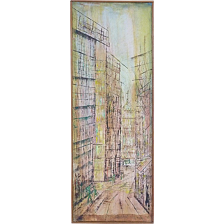 "Yvonna S. Overbeck "" Modernist Cityscape "" Oil On Panel"