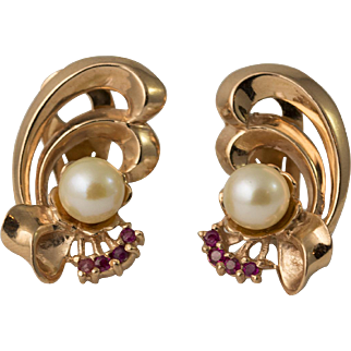 Retro 14K Rose Gold Ruby and Cultured Pearl Clip Bow Earrings