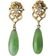 Vintage 14K Gold Jade and Diamond Pierced Earrings