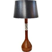 Vintage 1960's Turned Walnut and Tile Lamp