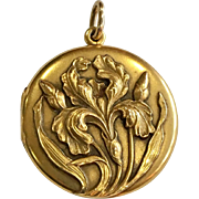 14K Gold Art Nouveau Large Locket with Iris