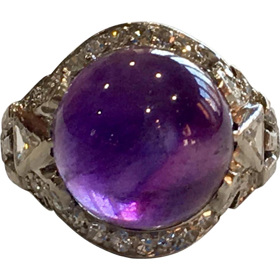 deco platinum cabochon amethyst ring from acanthusantiques on ruby