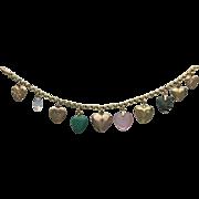 14K Gold Heart Vintage & Victorian Charm Bracelet