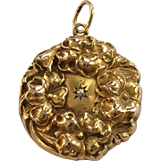 Art Nouveau 14K Gold Floral Locket with Diamond