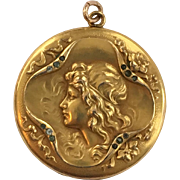 Art Nouveau Large Gold Filled Figural Locket With Diamonds