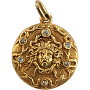 Art Nouveau 14K Gold Medusa Locket with Diamond