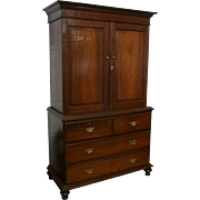 Early 19th Century Anglo-Indian Rosewood Linen Press