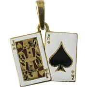 14K Gold Enamel Ace Spades Jack Diamonds Charm