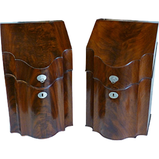 Pair English Eighteenth Century Mahogany Knife Boxes