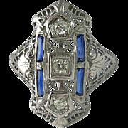 Edwardian 18K White Gold Filigree Diamond Sapphire Ring