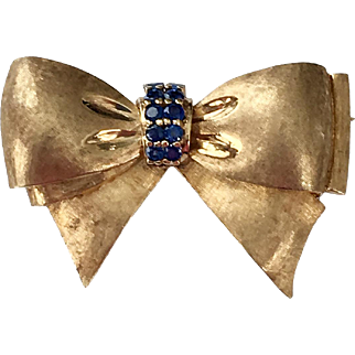 Vintage 14K Florentine Gold Sapphire Bow Pin