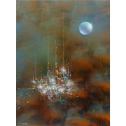 "Leonardo Nierman "" Enchanted City "" Oil On Masonite"