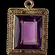 Edwardian 14K Gold Amethyst Brooch / Pendant