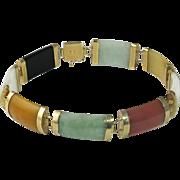 Chinese 14K Gold Jade, Onyx and Hard Stone Link Bracelet