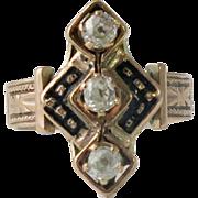 Victorian 14K Rose Gold Enamel Diamond Ring - Red Tag Sale Item