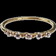 Victorian 14K Gold Enamel Flower Bangle Bracelet