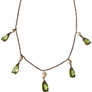 Edwardian 14K Gold Peridot Cultured Seed Pearl Necklace With Drops - Red Tag Sale Item