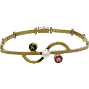 Designer 14K Gold Link Bracelet With Cultured Pearl Pink & Green Tourmaline