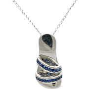 14K White Gold and Sapphire Sandal Pendant on Chain