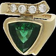 14K Gold Diamond and Green Tourmaline Ring
