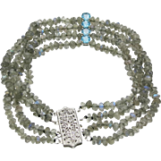 4 Strand Labradorite Bead Bracelet With Blue Zircon Spacers