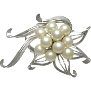 Vintage Sterling Silver Large Cultured Pearl Brooch