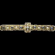 Early Krementz 14K Gold Cultured Seed Pearl Corn Flower Blue Sapphire Bar Pin