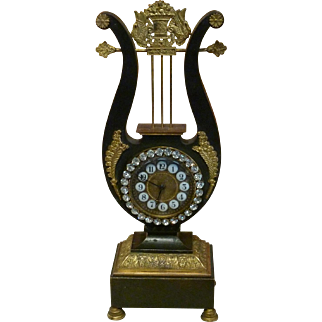 Nineteenth Century French Gilt Bronze Lyre Neoclassical Clock